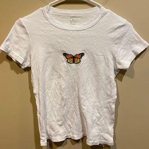 Brandy Melville John Galt White Butterfly Crop Top